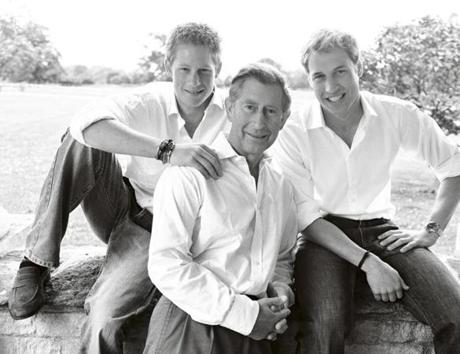 "Charles, Prince of Wales, with his sons, Harry (left) and William in London in 2004, from ""British Royal Portraits."""